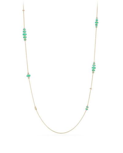 18k Gold Rio Rondelle Station Necklace in Chrysoprase, 36