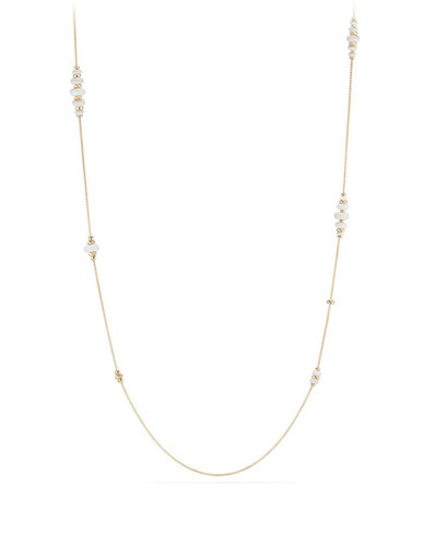 18k Gold Rio Rondelle Station Necklace in White Agate, 36