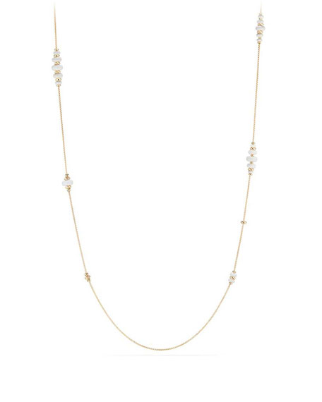 18k Gold Rio Rondelle Station Necklace in White Agate, 36""