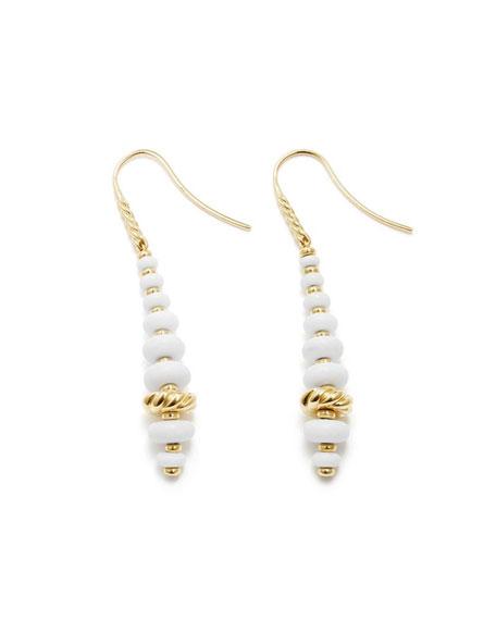 18k Gold Rio Rondelle Drop Earrings in White Agate