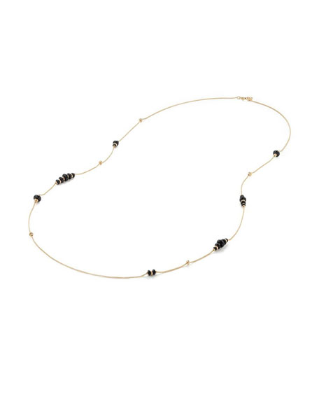 18k Gold Rio Rondelle Station Necklace in Black Onyx, 36""