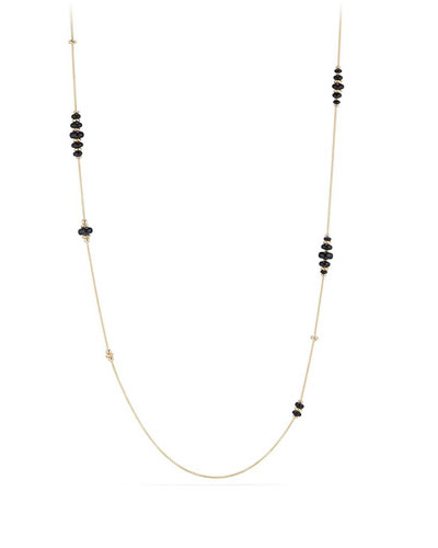 18k Gold Rio Rondelle Station Necklace in Black Onyx, 36