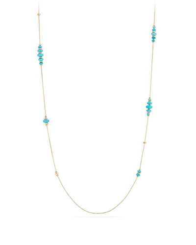 18k Gold Rio Rondelle Station Necklace in Turquoise, 36