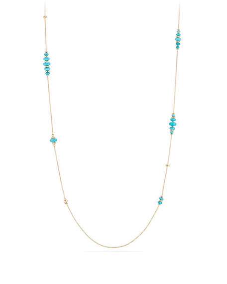 18k Gold Rio Rondelle Station Necklace in Turquoise, 36""