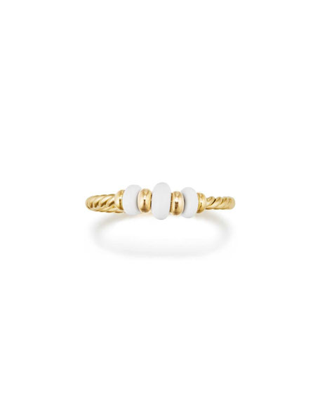 18k Gold Rio Rondelle Ring in White Agate, Size 6