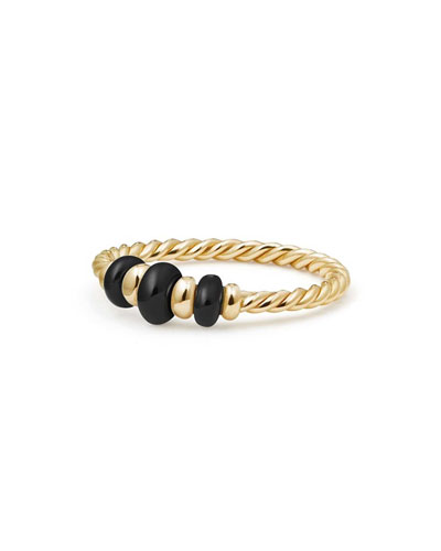 18k Gold Rio Rondelle Ring in Black Onyx, Size 6