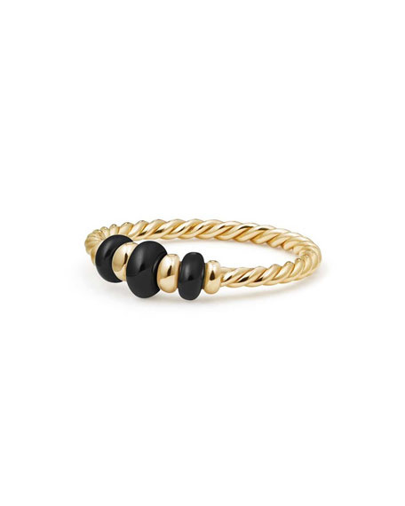 18k Gold Rio Rondelle Ring in Black Onyx, Size 6