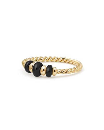 18k Gold Rio Rondelle Ring in Black Onyx, Size 7