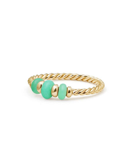 18k Gold Rio Rondelle Ring in Chrysoprase, Size 6