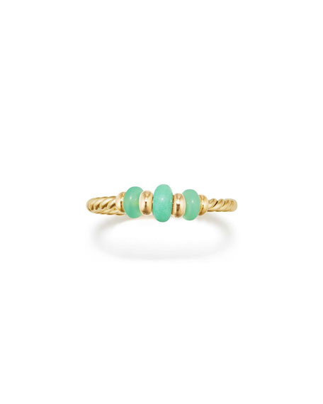 18k Gold Rio Rondelle Ring in Chrysoprase, Size 7