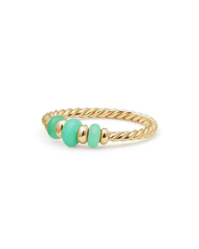 18k Gold Rio Rondelle Ring in Chrysoprase, Size 7