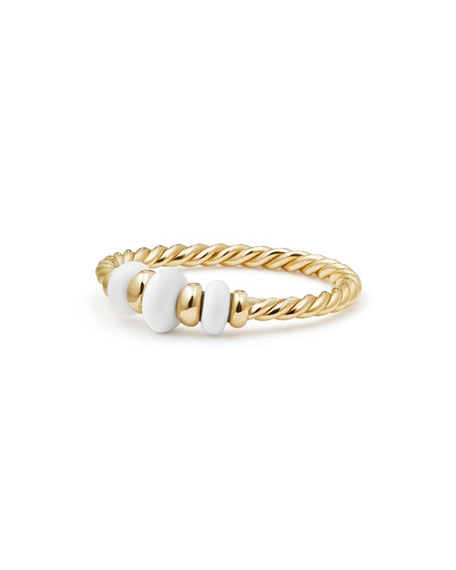 18k Gold Rio Rondelle Ring in White Agate, Size 7