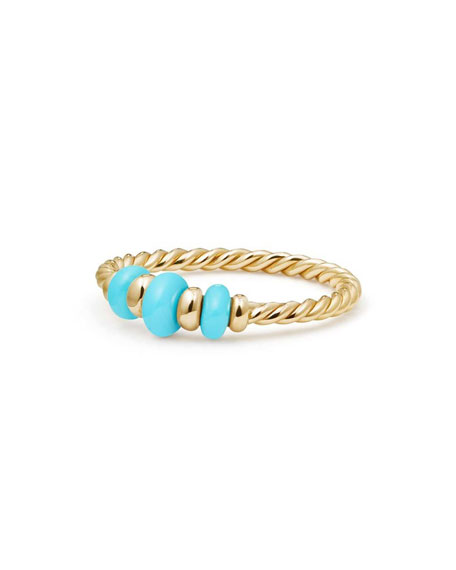 18k Gold Rio Rondelle Ring in Turquoise, Size 7