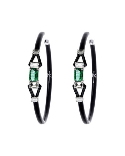 18k White Gold Oui Diamond & Emerald Hoop Earrings