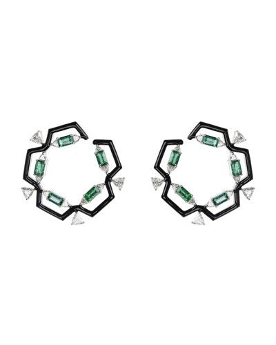 Oui 18k White Gold & Black Enamel Hoop Earrings with Emeralds & Diamond
