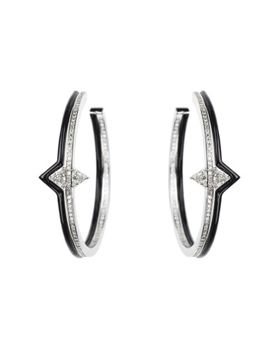 V 18k White Gold  Black Enamel & Diamond Hoop Earrings