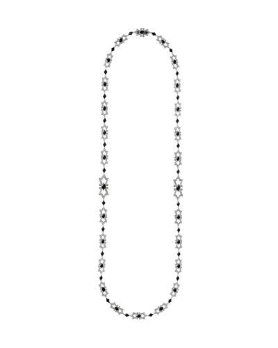 V 18k White Gold Diamond & Onyx Necklace