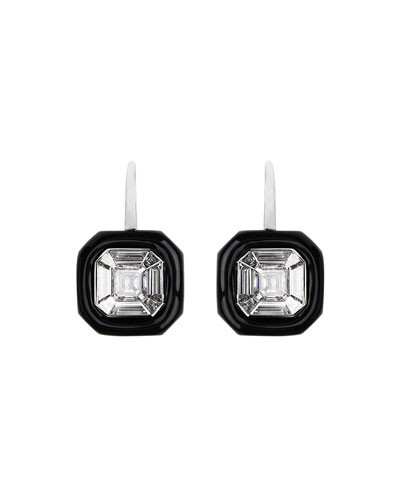 18k White Gold Oui Diamond & Black Enamel Earrings