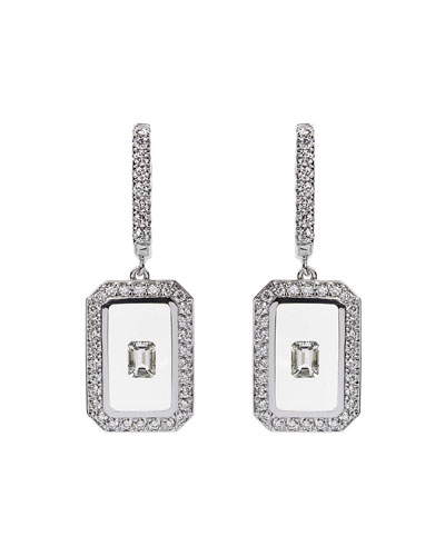 Universe Line 18k White Gold Diamond Drop Earrings