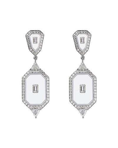 Universe Line 18k White Gold Mixed-Diamond Earrings