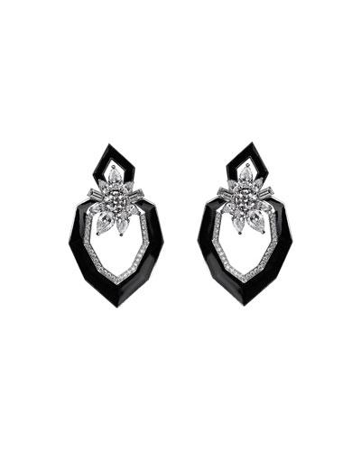 18k White Gold Oui Diamond & Enamel Earrings