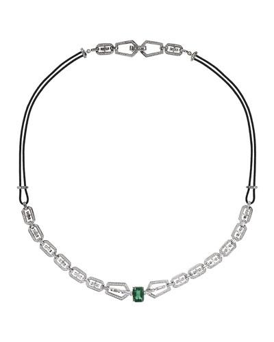 V 18k White Gold Diamond & Emerald Necklace