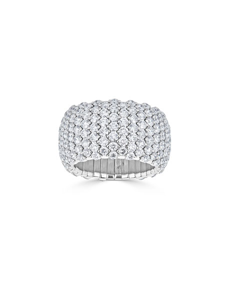 18k White Gold Diamond Stretch Ring, Size 7