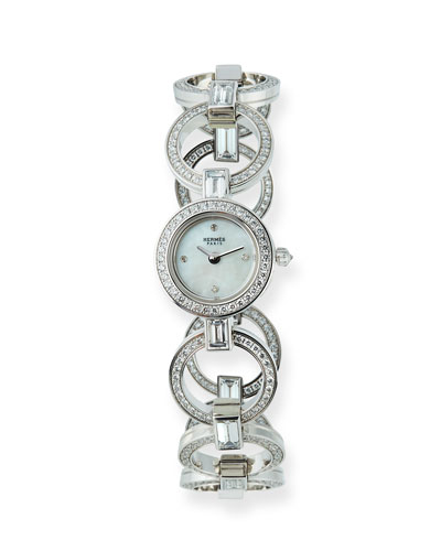 Faubourg Ring 18k White Gold Diamond Watch