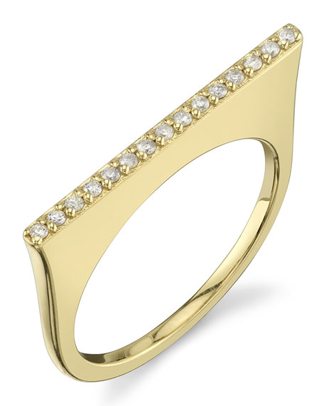 14k Gold Linear Tower Ring w/ Diamond Pave, Size 8