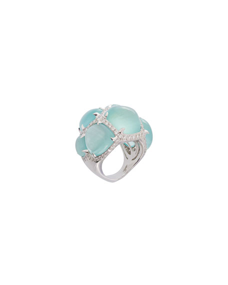 Margot McKinney Jewelry 18k Multi-Aquamarine Ring w/ Diamonds,