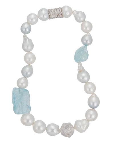 18k White Gold Pearl & Aquamarine Necklace