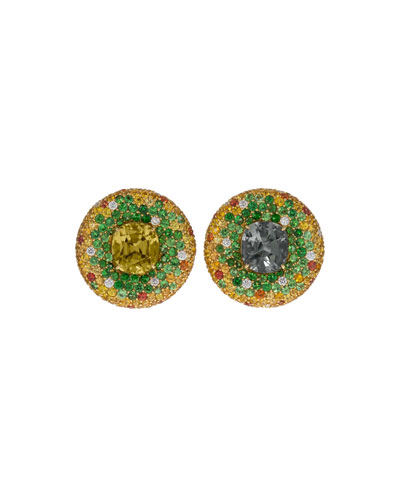 18k Gold Round Multi-Stone Stud Earrings