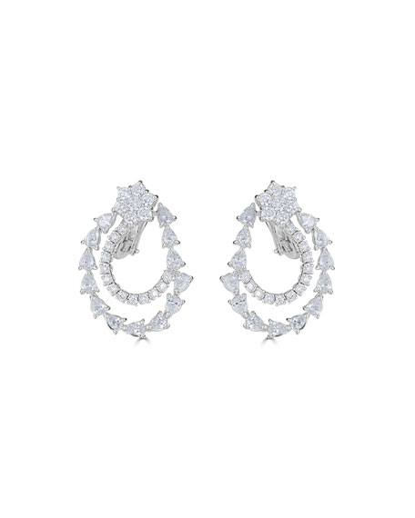 18k Luminal Diamond Flower & Spiral Drop Earrings