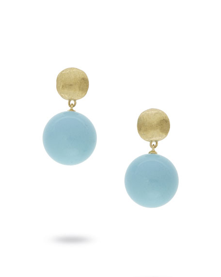 18k Gold Africa Small Turquoise Drop Earrings