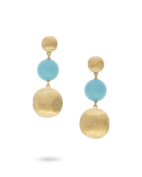 18k Gold Africa Large Turquoise 3-Drop Earrings