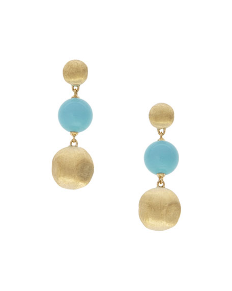 Africa 18k Gold 3-Drop Earrings w/ Turquoise