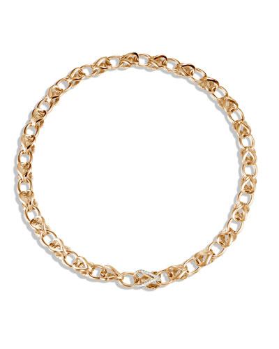 18k Classic Chain Link Necklace w/ Diamonds