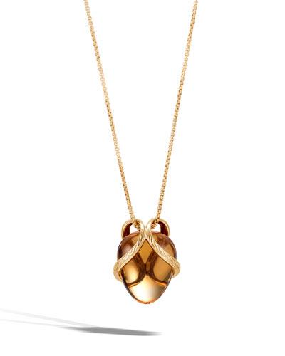 18k Classic Chain Quartz Pendant Necklace