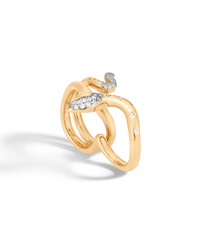 18k Legends Cobra Two-Finger Ring w/ Diamonds, Size 7