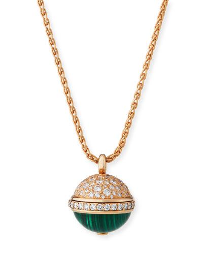 18k Rose Gold, Diamond & Malachite Pendant