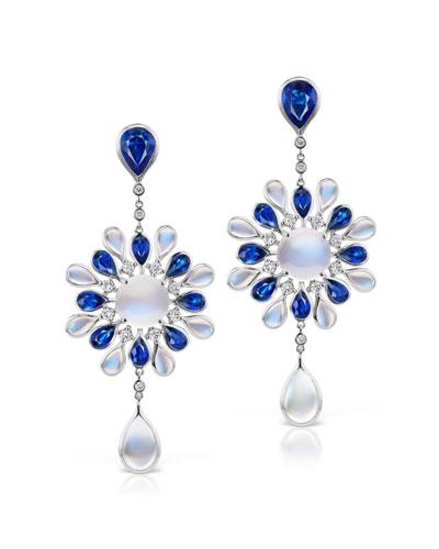 18k White Gold 2-Stone Drop Earrings