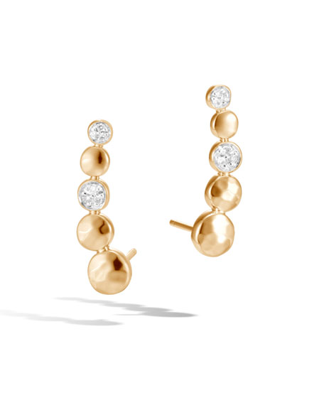 18k Dot Hammered Diamond Earrings, 0.07tcw