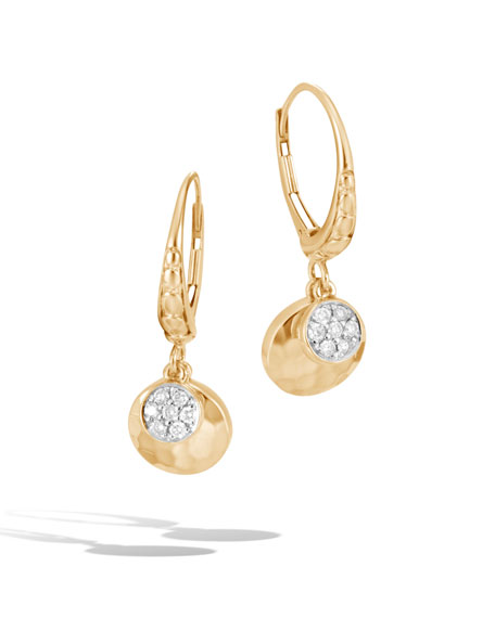18k Gold Dot Hammered Diamond Dangle Earrings