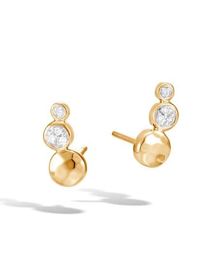 18k Gold Dot Hammered Diamond Stud Earrings