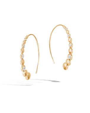 82495f7ab John Hardy 18k Gold Dot Hammered Medium Hoop Earrings w/ Diamonds
