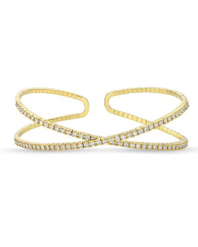 18k Gold Flexible Crisscross Diamond Bangle