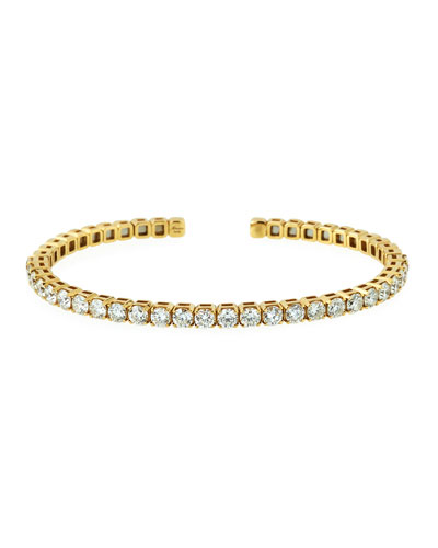 18k Gold Flexible Open Diamond Bangle, Size 53