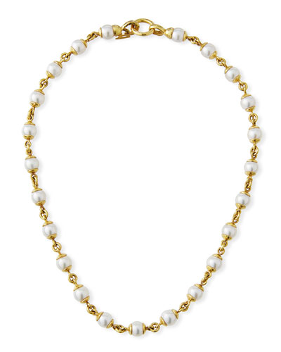 19k Gold Pearl & Link Necklace