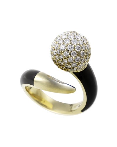 Lingerie 18k Gold Diamond & Black Enamel Ring  Size 6.75