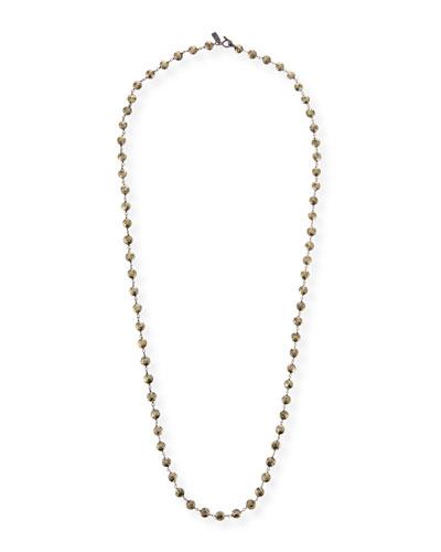 Long Pyrite & Chain Necklace